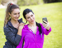 Two fit women taking selfie together Stock Images