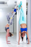 Two fit young Caucasian girls wearing sportswear performing handstand against wall indoors Stock Photography
