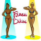 Two fitness bikini girls Stock Photography