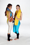 Two Fitness Girls. With towels, looking into the camera stock photos