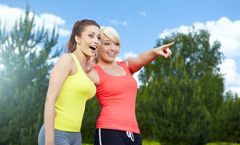 Two fitness girls outdoor Stock Photography