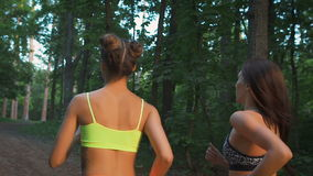Two fitness girls running through the woods. They practice sport life style. For the health and tone. Rear side stock footage