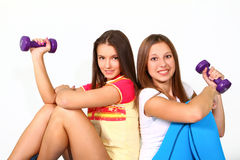 Free Two Fitness Girls With The Dumbbells Royalty Free Stock Images - 27089689