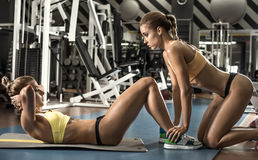 Two fitness woman. Two young fitness woman, execute exercise on prelum abdominale in gym, horizontal photo Stock Image