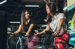 Fitness young woman on gym bike. Two fitness young women on gym bike stock photo