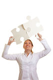 Two fitting big jigsaw pieces Stock Image