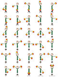 Two-flag semaphore signals. Illustration of a two-flag semaphore signals alphabet royalty free illustration