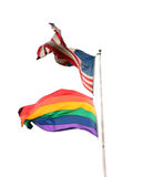 Two flags. American and rainbow flags Stock Image