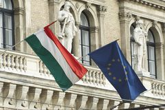 Two flags. Flags of the hungary and european union together Stock Photo