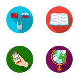 Two flags, a book for the blind, a hand with a phone with translated text, a globe of the Earth. Interpreter and. Translator set collection icons in flat style Stock Images