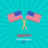 Two flags Happy independence day United states of America. 4th of July. Sunburst background Card Flat design Royalty Free Stock Image