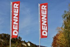 Free Two Flags Of Store Called Denner, Discount Store In Switzerland. Royalty Free Stock Photography - 199963667