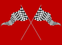 Two flags on a red background. Crossed flags depicting sports or finish lines on a red background Stock Photos