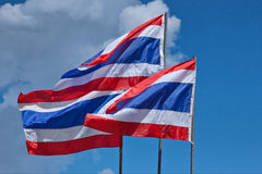 Two flags of thailand Stock Images