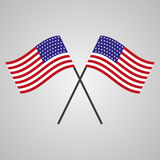 Two flags of USA on a gray background Stock Image