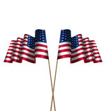 Two Flags USA Waving Wind Stock Images