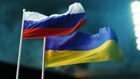 Two flags waving on wind. International relationships concept. Russia, Ukraine. royalty free stock photography