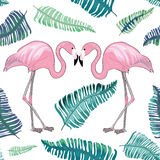 Two flamingos with beaks together with green tropical leaves aroud. Hand drawn two flamingos with tropical leaves aroud. Seamless pattern on white background vector illustration