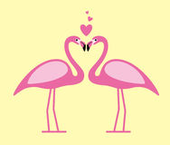 two Flamingos face to face, lover, vector illustration Royalty Free Stock Photos