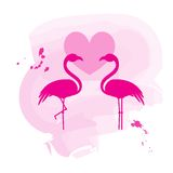 Two flamingos in love Stock Photo