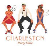 Two flapper girls and one man dancing Charleston. royalty free illustration