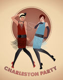 Two flappers girls dancing Charleston. Vector Illustration Stock Image