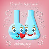 Two flasks with kissing faces emoticons and text Every kiss begins with chemistry. World kiss day greeting card template. Cartoon vector illustration Stock Images