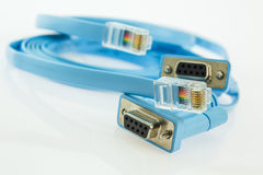 Two flat cables for console service of networked devices Royalty Free Stock Photos