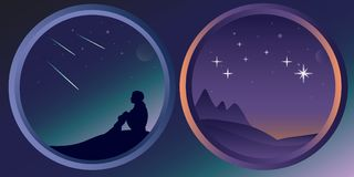 Two flat night landscapes with stars and the moon Stock Photography