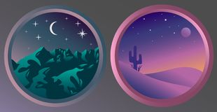 Two flat night landscapes with stars and the moon. Flat night landscapes with stars and the moon. Mountain view at night. Desert view at night Stock Photography