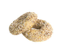 Two Flaxseed Bagels Isolated on a White Background Stock Photos