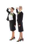 Two flight attendants greet the crew commander. Isolated on white background royalty free stock photography