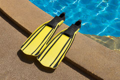 Two flippers for diving. On poolside Royalty Free Stock Images