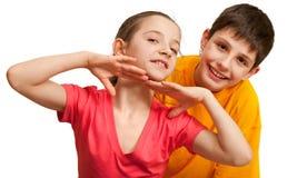 Two flirting kids Royalty Free Stock Image