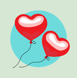 Two floating balloon hearts flat design vector Royalty Free Stock Photography