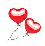 Two floating balloon hearts flat design on white Stock Image