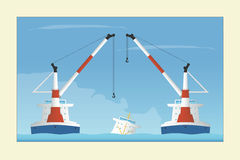 Two floating cranes and sunken vessel. Salvage operation. Vector illustration. EPS 10. Opacity Stock Images