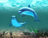Two floating dolphins in turquoise sea water. stock illustration