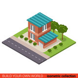 Two floor building block with garage - vector 3d architecture. Flat 3d isometric creative modern two floor building block with garage info graphic concept. Build Stock Photo