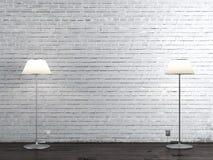 Two floor lamps in brick room. 3d render Stock Photos