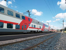 Two floor passenger train. In a service, Finland Royalty Free Stock Photos