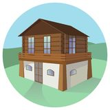 Two-floor traditional mountain house. Isolated illustration. royalty free illustration