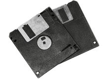 Two floppy disks. Isolated on white background Royalty Free Stock Photography