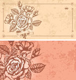 Two floral backgrounds. Two romantic floral backgrounds with vintage roses Royalty Free Stock Photos