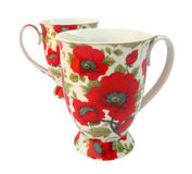 Two floral cups Royalty Free Stock Photography