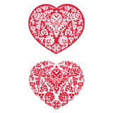 Two Floral Hearts Stock Images