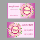 Two floral style cards with lilac in pink Royalty Free Stock Photo