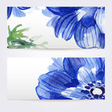 Two floral watercolor banners with anemones. The templates  you can use for visit cards, labels or banners Stock Photography