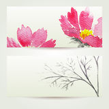 Two floral watercolor banners with bouquet of pink flowers. The templates  you can use for visit cards, labels or banners Stock Image