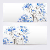 Two floral watercolor banners with bouquet of wild flowers Stock Photo